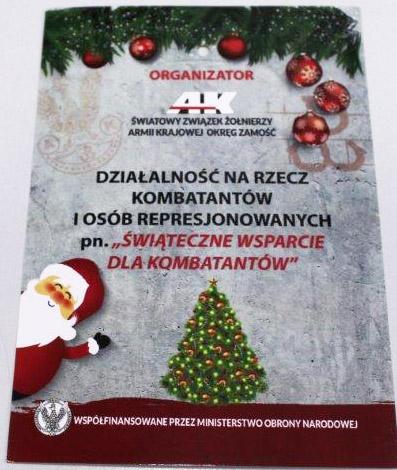 świąteczne wsparcie dla kombatantów - plakat