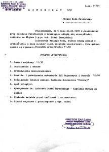 Pismo – komunikat 1/91 prezesa Oddziału Okręgowego Zamość ŚZŻAK B. Sobieszczańskiego w sprawie powiadomienia o uroczystościach święta 9 pp AK ziemi zamojskiej