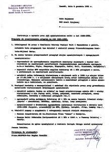 Pismo – instrukcja prezesa Oddziału Okręgowego Zamość ŚZŻAK B. Sobieszczańskiego z dn. 6 grudnia 1991 r. w sprawie prac nad upamiętnieniem walk w latach 1939–1956 r.