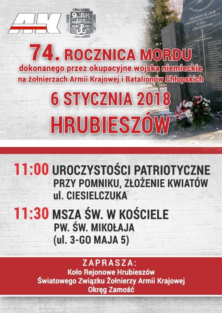 Uroczystości obchodów 74. rocznicy rozstrzelania partyzantów AK i BCH, 06.01.2018 Hrubieszów