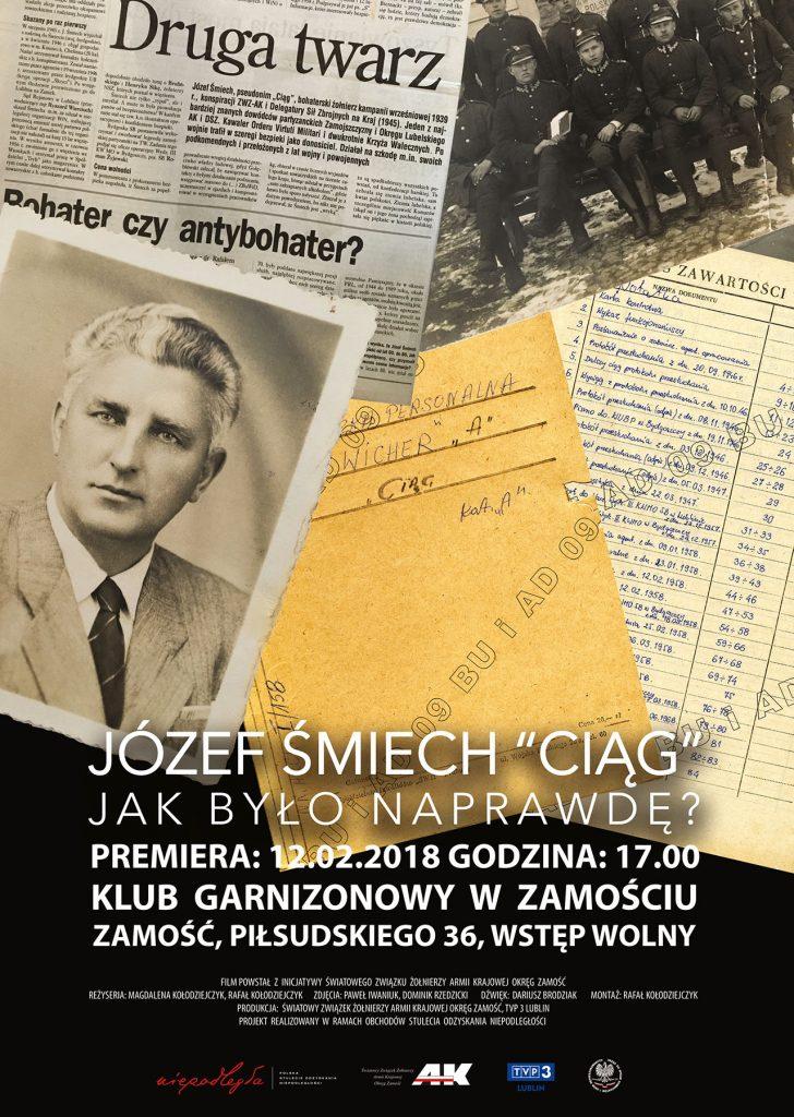 """<span style=""""color:red;font-weight:bold;line-height:1.5 !important;"""">Zaproszenie</span> na uroczystą premierę filmu """"Józef Śmiech """"Ciąg"""" Jak było naprawdę?"""""""