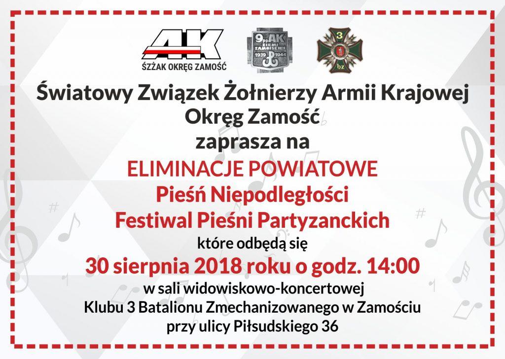 eliminacje powiatowe pieśń niepodległości festiwal pieśni partyzanckich