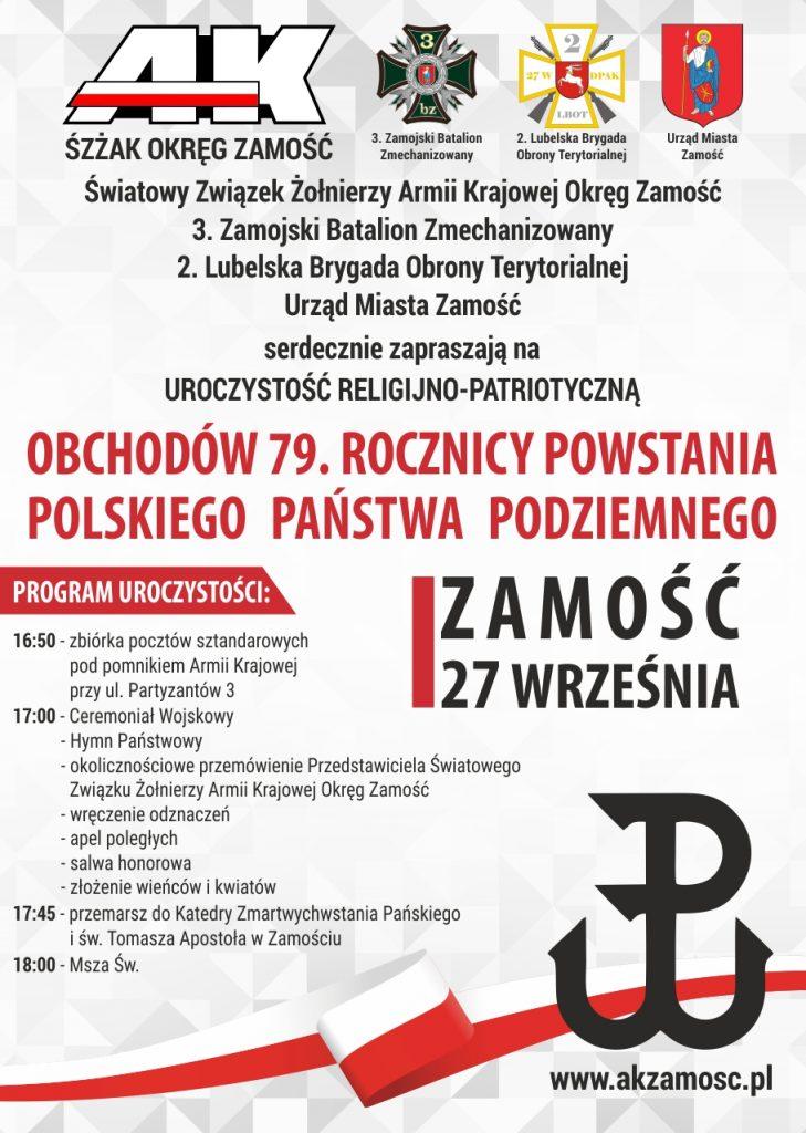 """<span style=""""color:#d2222b;font-weight:bold;line-height:1.5 !important;"""">Zaproszenie</span> na uroczystość religijno-patriotyczną obchodów 79. Rocznicy Powstania Polskiego Państwa Podziemnego"""