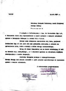 Pismo prezesa Oddziału Okręgowego Zamość ŚZŻAK B. Sobieszczańskiego do ŚZŻAK Zarządu Głównego Warszawa w sprawie upoważnienia do wydawania opinii o swoich członkach.