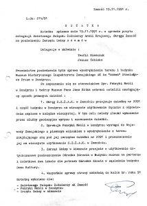 Notatka z dn. 19.11.1991 r. w sprawie pobytu delegacji ŚZŻAK Okręg Zamość na posiedzeniu zarządu gm. Adamów