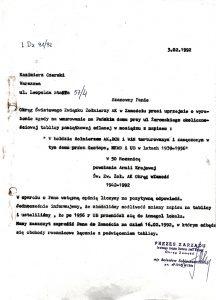 Pismo prezesa Oddziału Okręgowego Zamość ŚZŻAK B. Sobieszczańskiego