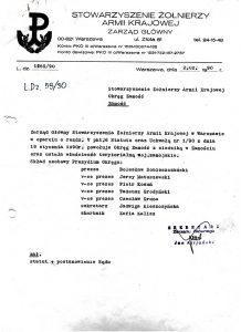 Pismo sekretarza Zarządu Głównego Jana Kiljańskiego o powołaniu Okręgu Zamość