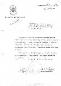Pismo bp. lubelskiego Bolesława Pylaka do ks. infułata Jacka Żórawskiego w sprawie mianowania go kapelanem SŻAKi Związku Sybiraków