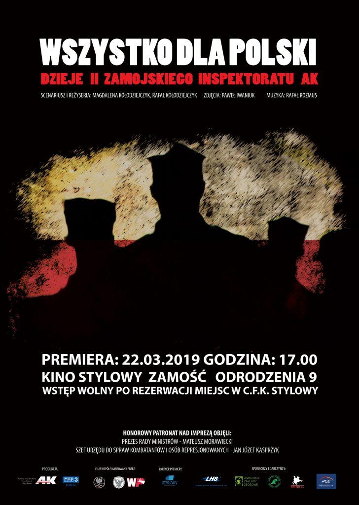 """<span style=""""color:#d2222b;font-weight:bold;line-height:1.5 !important;"""">Premiera</span> filmu dokumentalnego pt.<b>""""Wszystko dla Polski. Dzieje II Zamojskiego Inspektoratu AK""""</b>"""