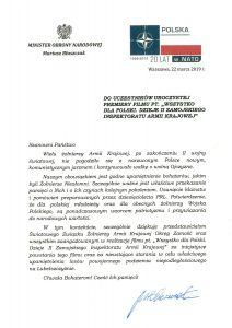List od Ministra Obrony Narodowej Mariusza Błaszczaka