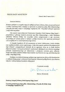 List od Prezesa Rady Ministrów - Mateusza Morawieckiego