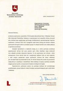 List od Marszałka Województwa Lubelskiego Jarosława Stawiarskiego