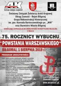 obchody 75. rocznicy wybuchu powstania warszawskiego bilgoraj 2019.